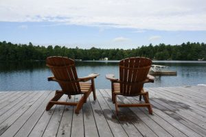 Dock seating at Two Docks cottage